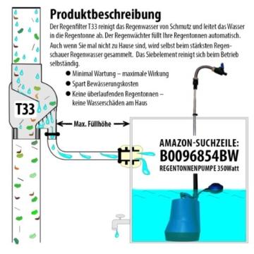 Fallrohrfilter Regensammler T33 braun / grau - Der Regenwasser-Filter für Regentonnen mit bis zu 95% Wirkungsgrad mit Anschlusszubehör und Universalanschluss für alle Fallrohre 75-110mm (1 Stk. Grau) - 4